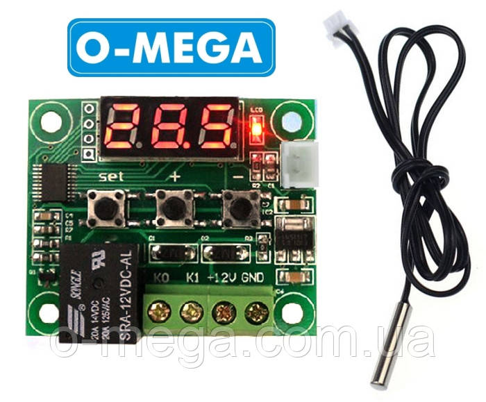 Терморегулятор цифровой W1209 бескорпусной 12В (-50...+110) с порогом включения в 0.1 градус, красный