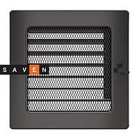 Вентиляционная решетка для камина SAVEN 17х17 графитовая с жалюзи