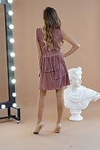 """Нарядное плиссированное мини-платье """"Гофре"""" с разрезом (4 цвета), фото 2"""