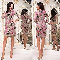 """Демісезонне трикотажне плаття з мереживом """"Максим"""", фото 1"""