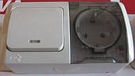 EVA выключатель +розетка с заземлением с прозрачной крышкой накладной светло-серый IP54, Эл-би, Турция