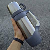Термос для чая походный на 2 кружки с ручками и ремешком - стальной серый 1000 мл