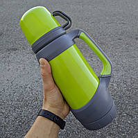 Термос для чая походный на 2 кружки с ручками и ремешком - серый салатовый 1000 мл