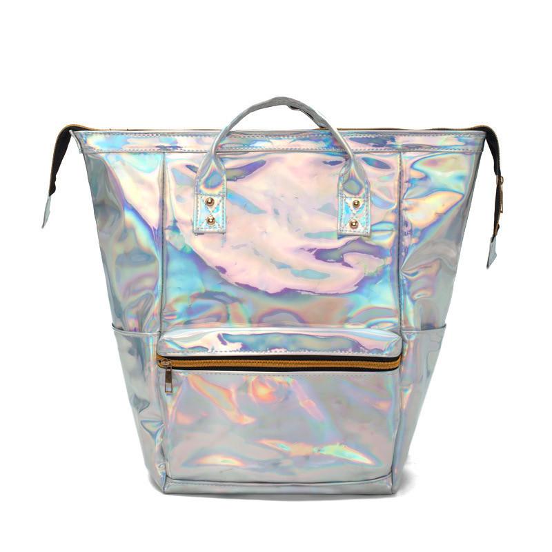 """Жіночий голографічний блискучий рюкзак """"HOLOGRAMMA"""" шкільний портфель срібний білий сірий 40х26х15 см"""