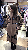 Женская бежевая куртка пальто под каракуль, фото 1