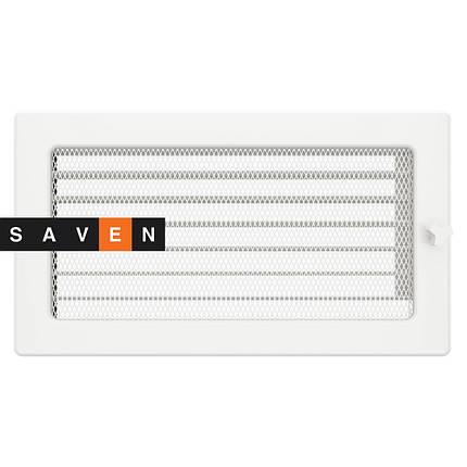 Вентиляционная решетка для камина SAVEN 17х30 белая с жалюзи, фото 2