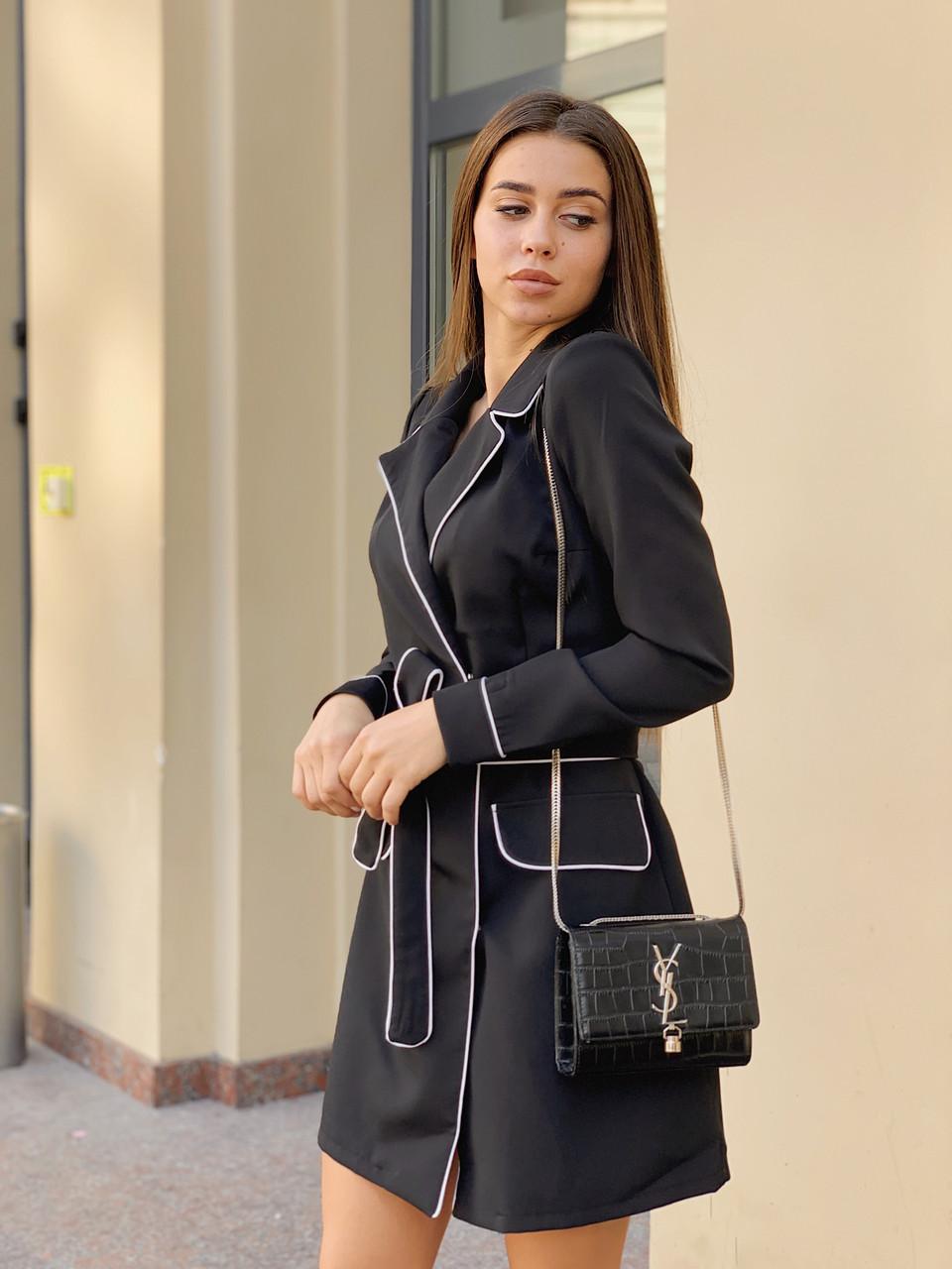 Платье с окантовкой черное /42-46, ft-456/