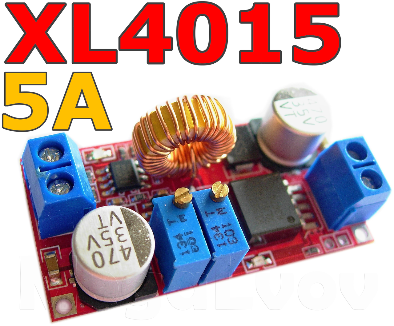 Преобразователь понижающий  XL4015 5A с регулировкой напряжения и тока  ( модуль питания  DC-DC Step Down )