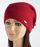 Оригинальная женская шапочка Альбина вишневая