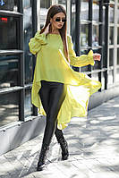 Женский костюм лосины из эко-кожи и шифоновая блуза со шлейфом 42, 44, 46, 48