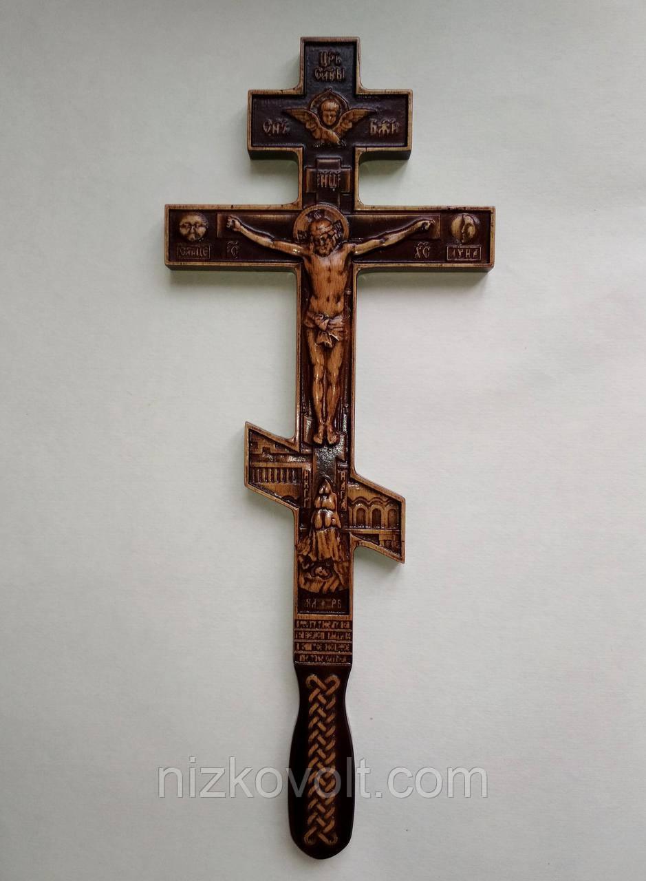 Деревянный крест с ручкой восьмиугольный 140*350*18 мм, фото 1