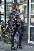 Женский костюм лосины из эко-кожи и шёлковая блуза со шлейфом 42, 44, 46, 48