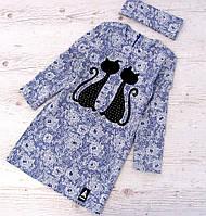 Р. 134-152 Детское платье c котиками, фото 1