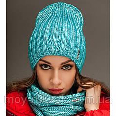 "Комплект шапка и шарф вязаные ""Брест "" бирюзовый 903823"