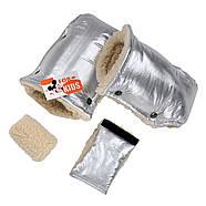 "Детский зимний конверт чехол на овчине с рукавичками ""For kids"" Mini металлик, фото 4"