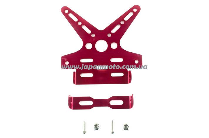 Рамка для крепления номера и поворотников с регулируемым углом наклона (красная) XJB, фото 2