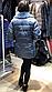 Женская куртка из эко-меха под каракуль голубая, фото 2