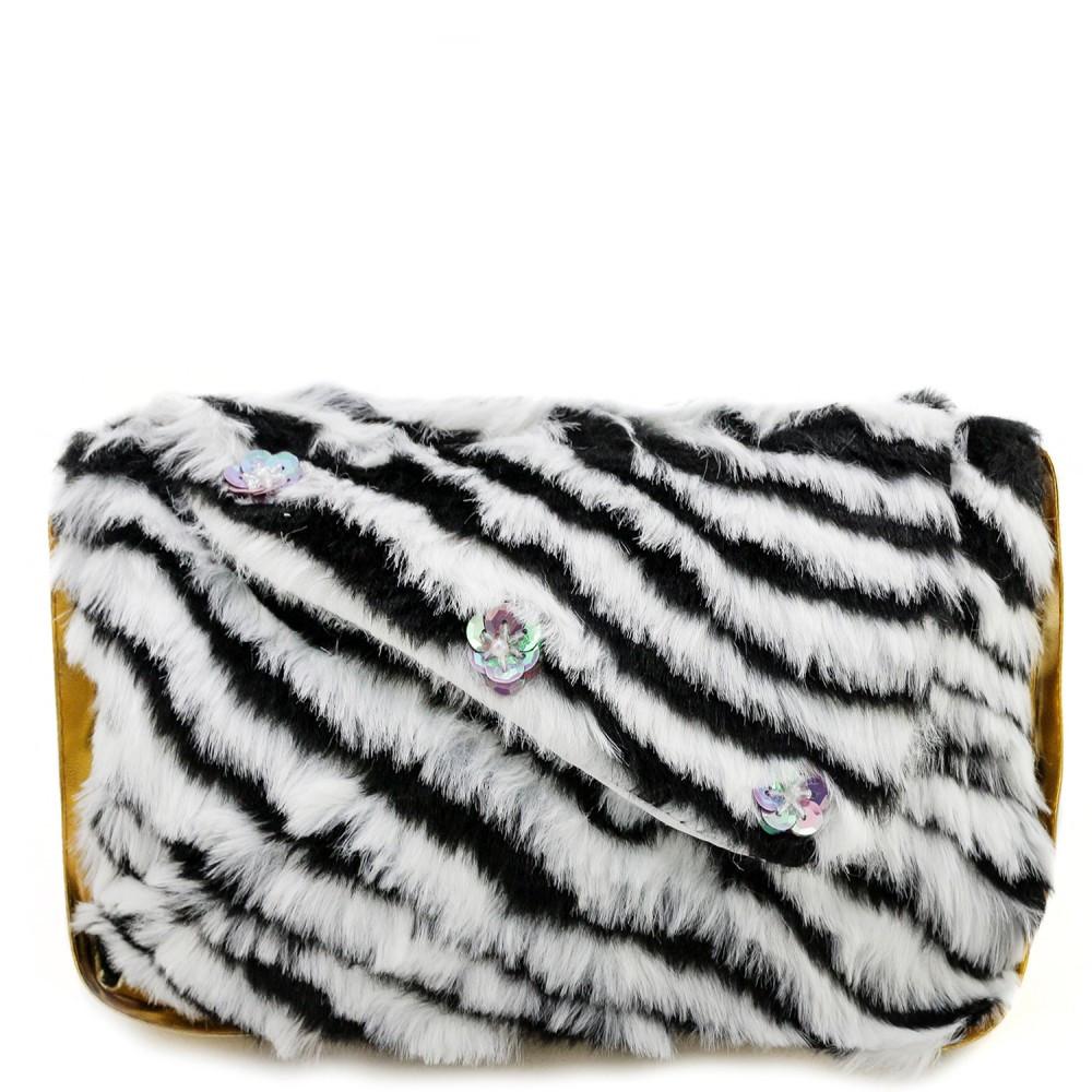 Детская сумка тигровая черно-белая