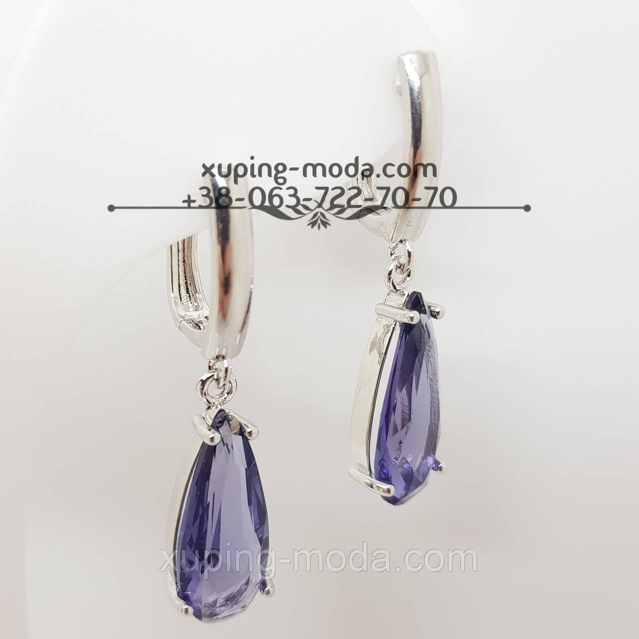 Серьги с фиолетовым камнем