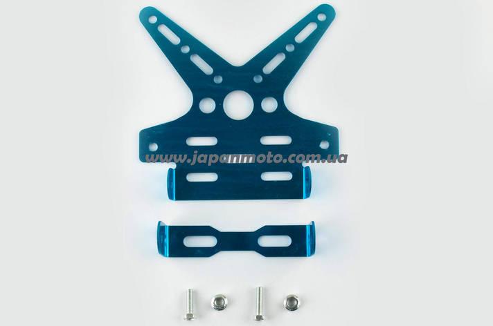 Рамка для крепления номера и поворотников с регулируемым углом наклона (синяя) XJB, фото 2