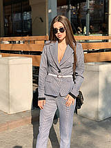 Стильный костюм двойка пиджак с манжетом и брюки /гусиная лапка, 42-46, ft-455/, фото 3