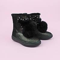 Зимние сапоги для девочки кожаные с натуральным мехом тм Bi&Ki размер 27,29