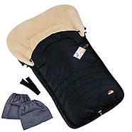 """Детский зимний конверт чехол на овчине с рукавичками и бахилами """"For kids"""" Maxi черный, фото 2"""