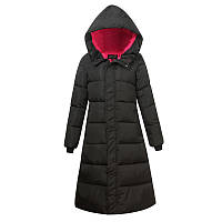 Удлиненная курточка - пальто, теплая зимняя, черная с розовым подкладом., фото 1