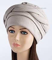 Оригинальная женская шапка Волна цвет бежевый