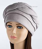 Женская шапка из искусственной замши Волна светло-серая