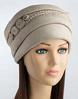 Женская шапка из искусственной замши Афина бежевого цвета