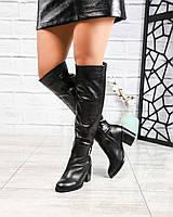 Зимние ботфорты женские с пряжкой черные, фото 1