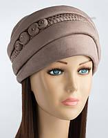 Красивая шапка из искусственной замши Афина светло-коричневая