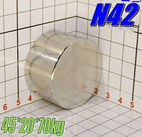 МЕГА магніт неодимовий 45*20*70кг, N42, ПОЛЬША ☀ПІДБІР☀ОБМІН☀ГАРАНТІЯ☀