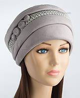 Теплая шапка из искусственной замши Афина светло-серая