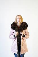 Женская парка. Модная куртка с мехом финского песца. Размер 42-56. Цвет: бежевый.