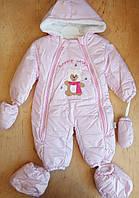 Комбинезон детский , плащевка, подкладка велсофт,, 6-9-12 мес, розовый
