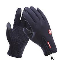 Сенсорные перчатки мужские утепленные флисовые . Чёрные