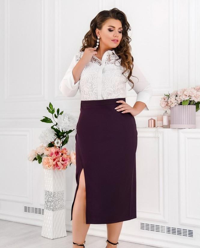 Длинная женская юбка с разрезом  Размеры от 50 до 56