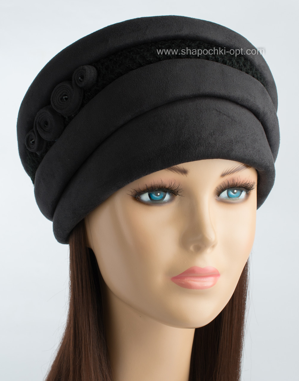 Черная женская шапочка Афина