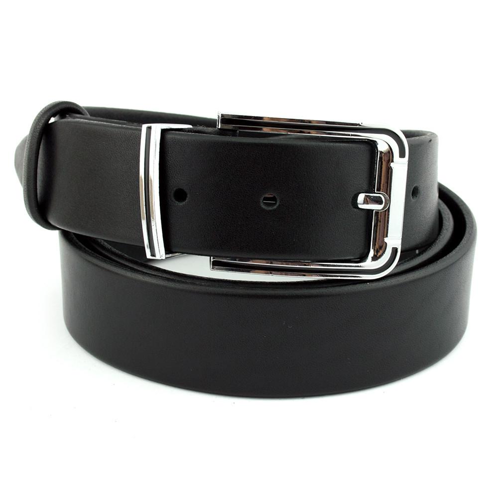 СКИДКА! Ремень мужской /детский кожаный черный JK-3525 (85 см)