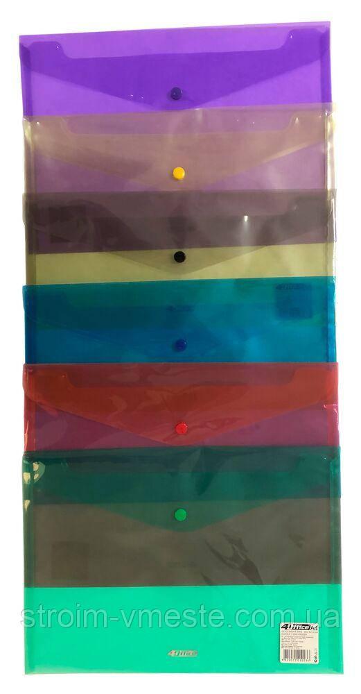 Папка-конверт на кнопці прозора 4OFFICE 4-208 А4 PP колір в асортименті