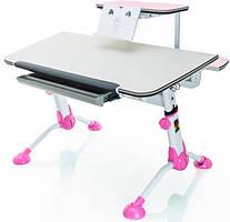 Дитяча парта Mealux з полицею BD-107 стільниця береза з рожевим, ніжки білі з рожевими накладками + полку BD-S50 PN (рожевий)