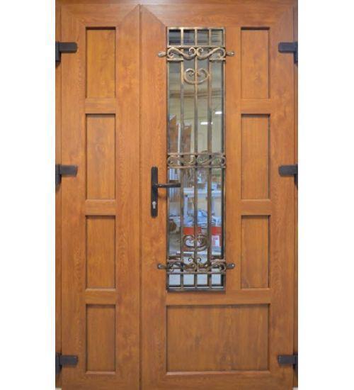 Двери входные 1200 металлопластиковые с окном и ковкой двери с двух сторон цветной