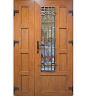 Двери входные металлопластиковые с окном и ковкой двери с двух сторон цветной