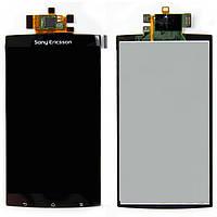 Дисплейный модуль (дисплей + сенсор) для Sony Ericsson X12, черный, оригинал