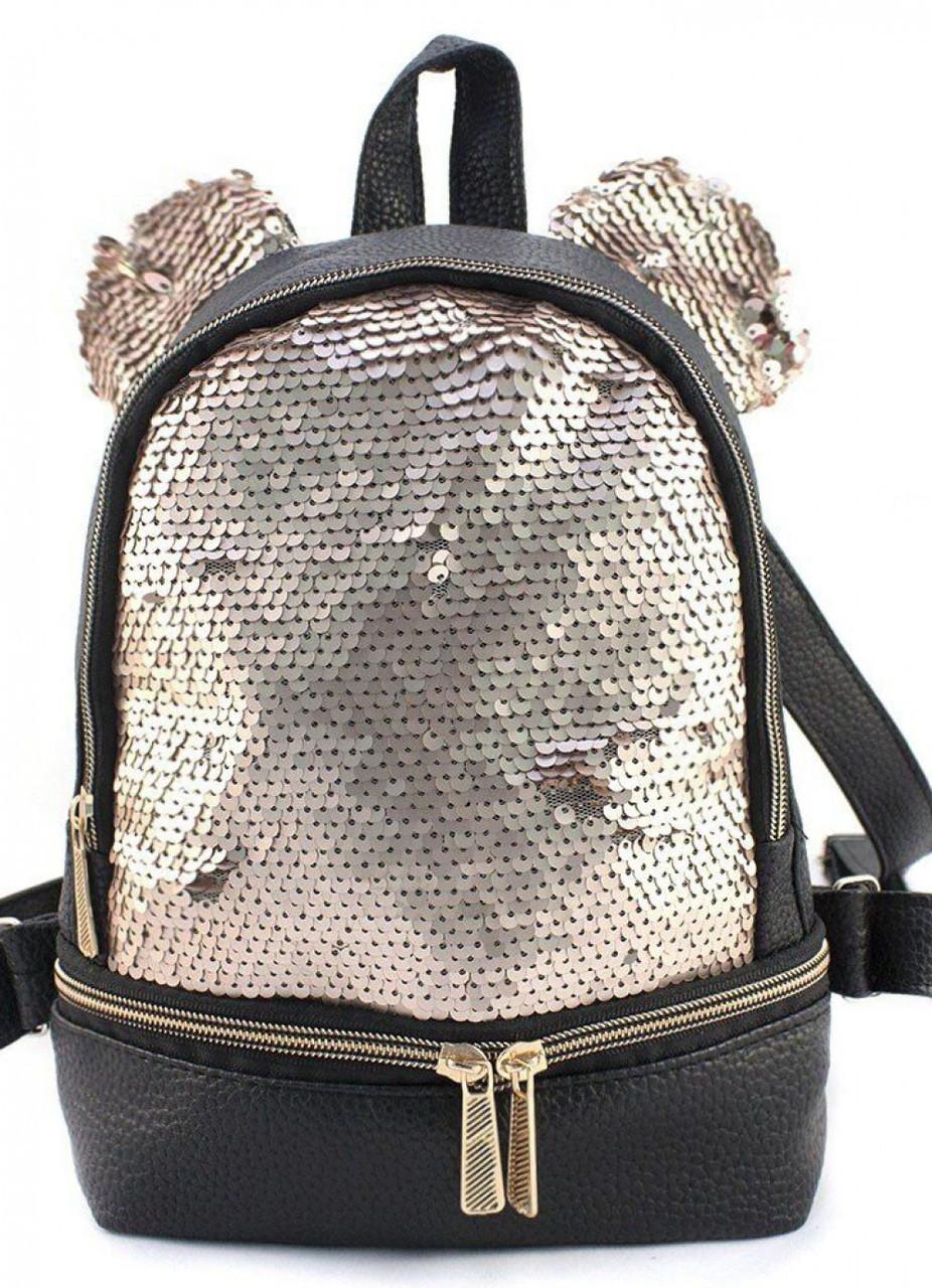 Женский молодежный рюкзак с пайетками и ушками r-11