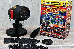 Лазерный праздничный новогодний проектор Slide Shower Slide Show (12 тематических слайдов) для дома и улицы