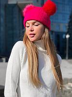 """Шапка женская вязаная с 2-мя помпонами, размер 53-58 (4цв) """"MILANA"""" купить недорого от прямого поставщика"""