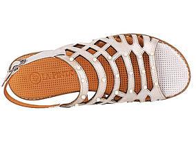 Белые босоножки из кожи Las Espadrillas 0378-70-52 размер 37, фото 2